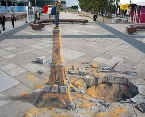 Imagine 3D pe asfalt - frumusețe în întregime