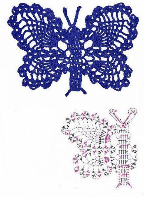 fluture schema de croșetat și descrierea de clasa maestru