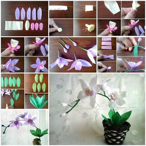 Orhideele fabricate din hârtie ondulată