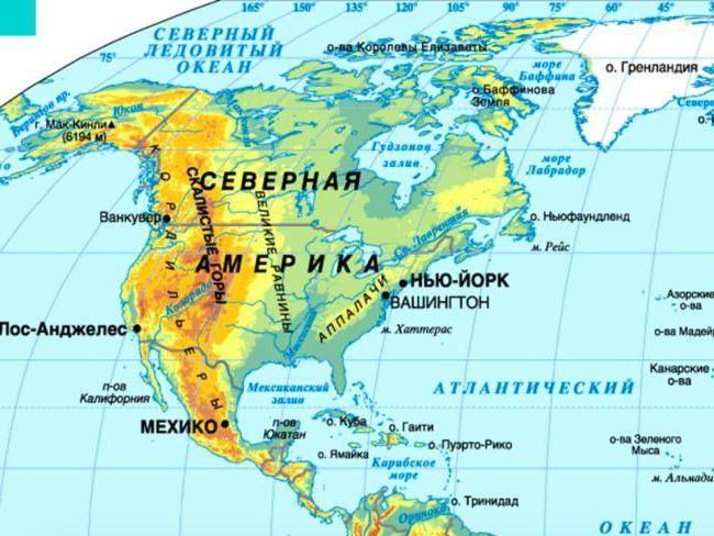 modul în care este situat continentul Americii de Nord relativ la celălalt