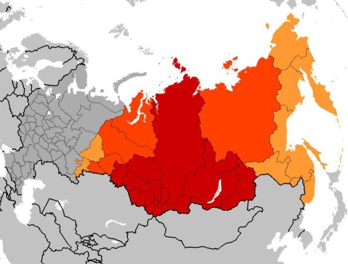 siberia pe hartă