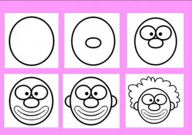 cum să desenezi un clovn în etape