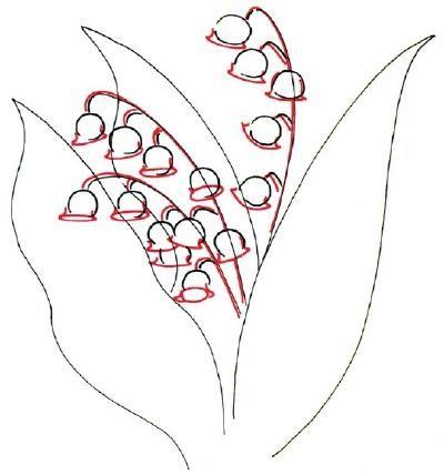 cum să desenezi un crin din vale cu un creion