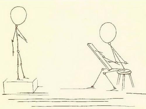 om în mișcare cu un creion