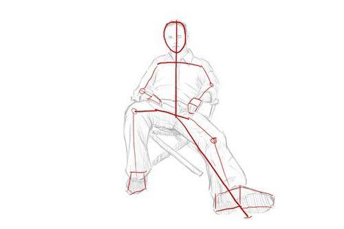 Desenați un bărbat așezat pe un scaun