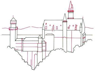 un castel desenat cu creioane