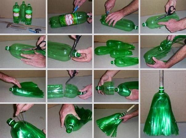 cum se face o mătură din sticle de plastic