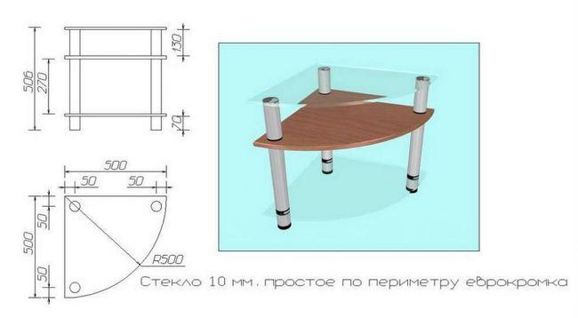 чертеж стеклянного стола