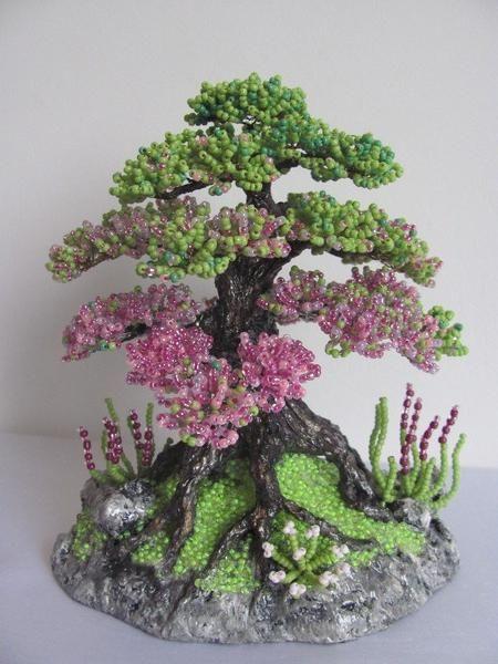 copaci și flori de la clasa maestrilor de margele