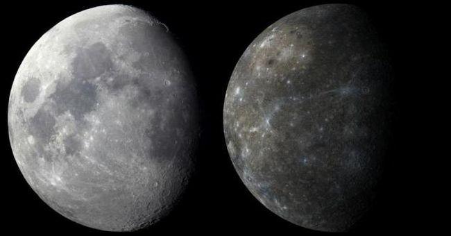 luna sau mercur, care este mai mare