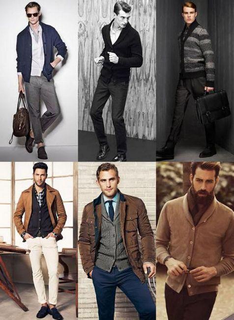 Cardigan masculin cu gluga cu ace de tricotat