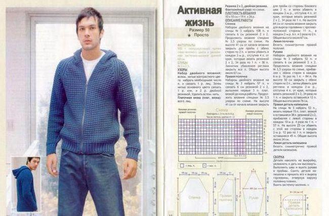 Cardigan masculin cu ace de tricotat cu capișon, scheme