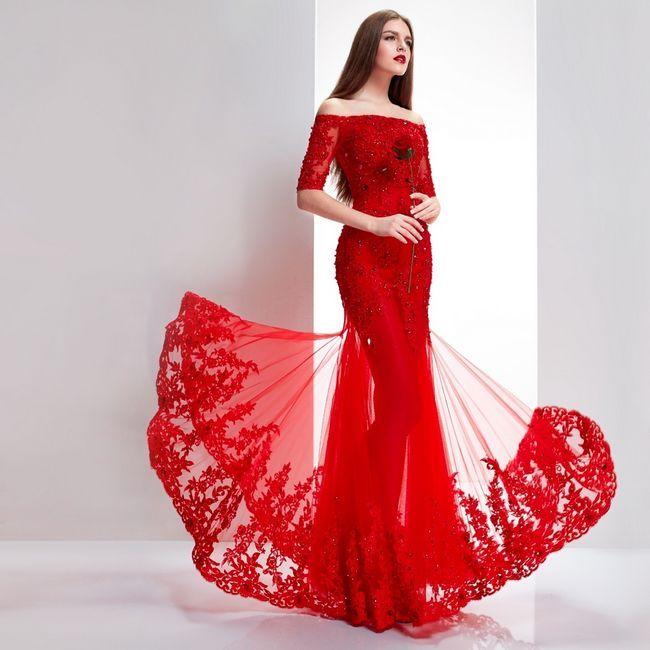 Rochie de mireasa rosie: descriere, fotografie a variantelor originale