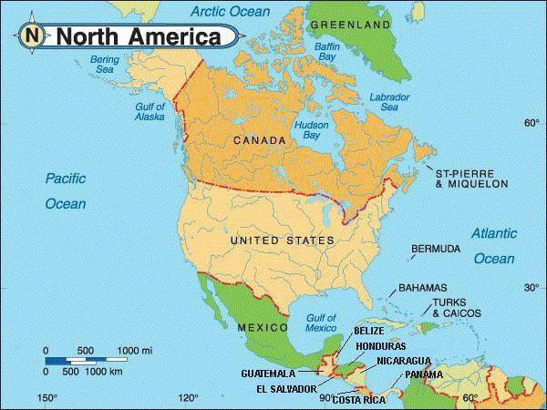 țări aparținând Americii de Nord