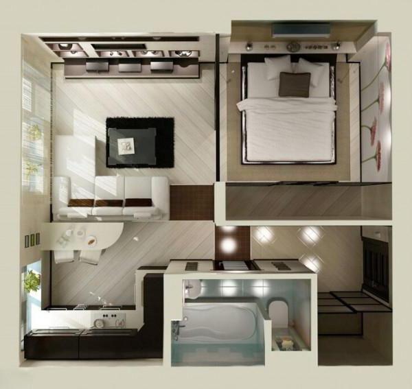 Apartament Evrodvushka: lay-out