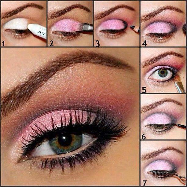 Make-up cu fotografie de umbre roz