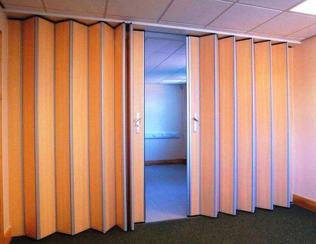 перегородки гармошка для зонирования пространства в комнате