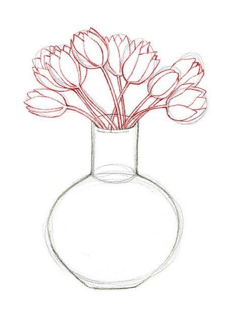 cum să desenezi o vază cu flori