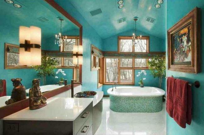 oglindă tavan în baie