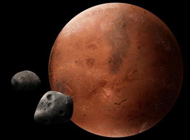 dimensiunea lunii și Marte