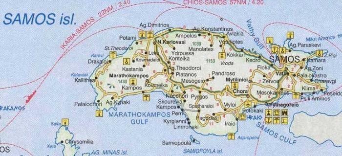 Samos, Grecia, hartă