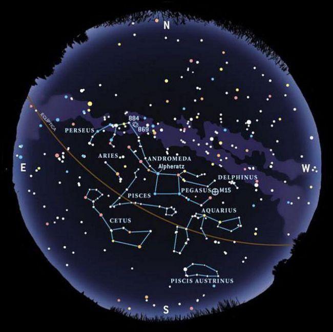 constelații și stele ale cerului de toamnă