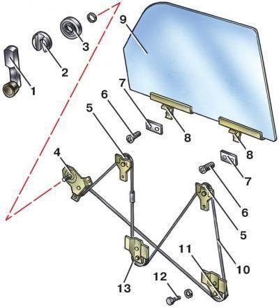 schema regulatorului de ferestre VAZ 2107