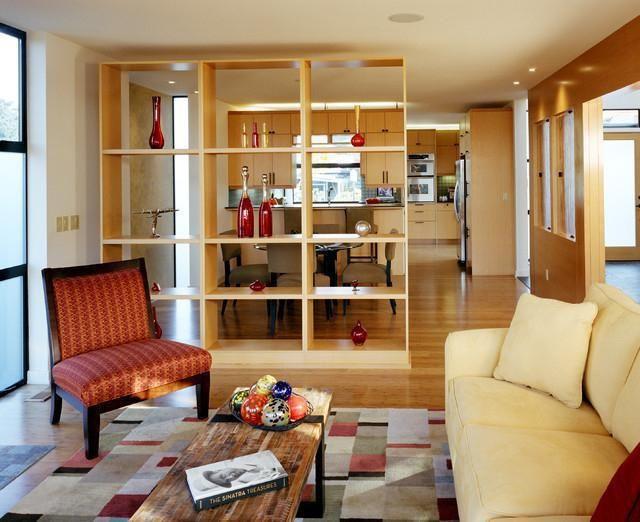 зонирование комнаты с помощью стеллажей