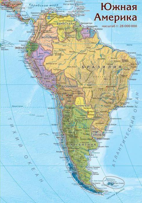 țările din America de Sud pe regiuni