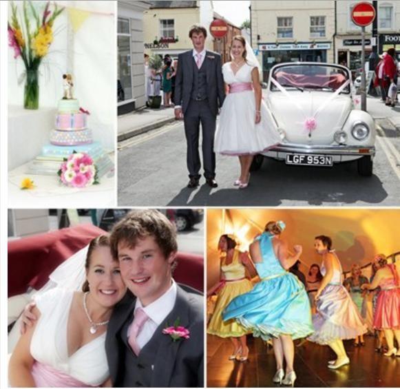 Căsătorii noi, mașină, tort și dans