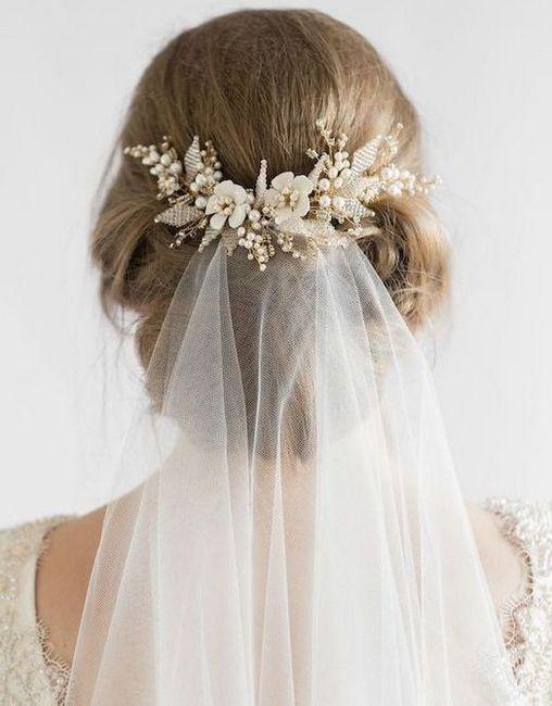 Coafuri de nunta cu un voal pentru par de diferite lungimi: fotografie