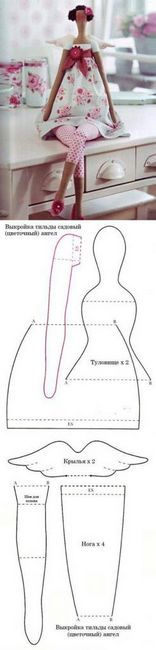 un design Tilda Angel de dimensiuni mari