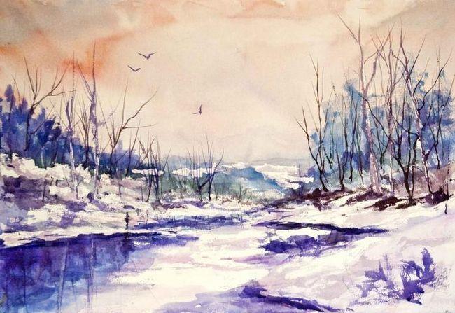 Învățând să picteze un peisaj de iarnă: îmbibată cu atmosfera unui basm