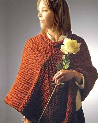 poncho cu ace de tricotat